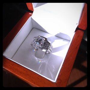 0.89 CT Round Cut 14k White Gold Custom Bridal Set